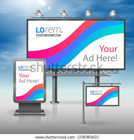 White outdoor advertising design for corporate identity with blue and red stripes. Stationery set - stock vector