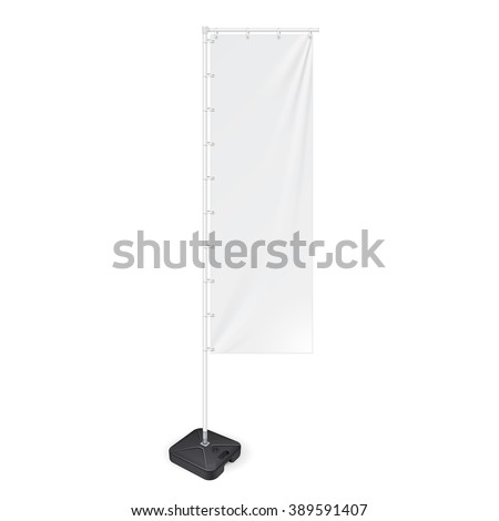 White Outdoor Panel Flag With Ground Fillable Water Base, Stander Advertising Banner Shield. Mock Up  Products On White Background Isolated. Ready For Your Design. Product Packing Vector EPS10 - stock vector