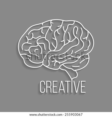 white outline brain with shadow. concept of thinking, artwork, success, brainstorming, nervous, psychology. isolated on grey background. flat style modern logotype design eps10 vector illustration - stock vector