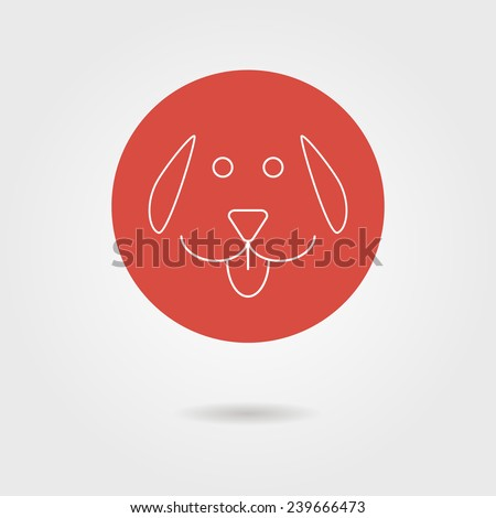 white outline dog icon in circle with shadow. concept of man's best friend, cuddling pets and template postcard. isolated on stylish background. flat style modern logotype design vector illustration - stock vector