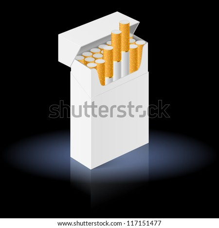 White Pack of cigarettes isolated on black background - stock vector