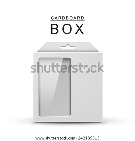 white package box with a transparent plastic window over white background - stock vector