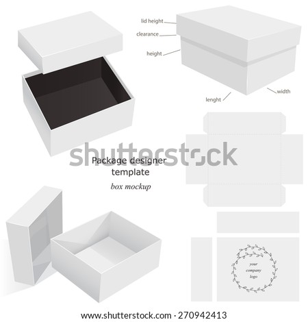 White Package Mockup Box, opened, closed, template, front and side layout. Isolated on White Background Ready For Your Design. Product package Vector EPS10 - stock vector