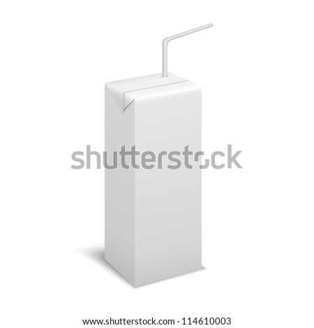 White packaging, box of juice, yogurt, milk. Package, box on a white background with straw. Blank pack of drink ready for your design. - stock vector