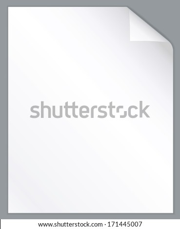 White page with folded corner background. Vector illustration. - stock vector