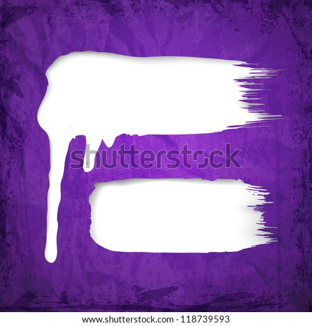 White paint dripping over violet paper sheet. Vector illustration. - stock vector