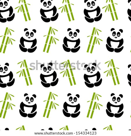 white panda background - stock vector