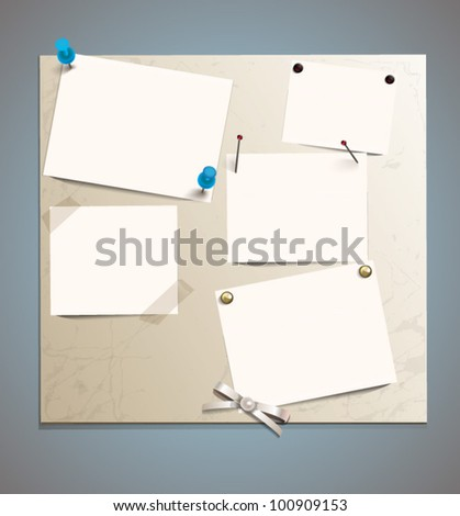 White paper and elements for attaching paper: pin, scotch tape. EPS 10 - stock vector