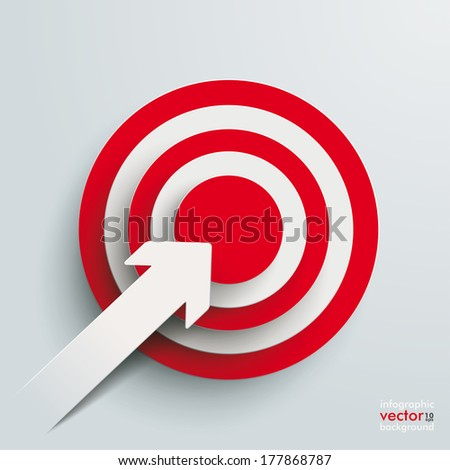 White paper arrow with red aim on the grey background. Eps 10 vector file. - stock vector