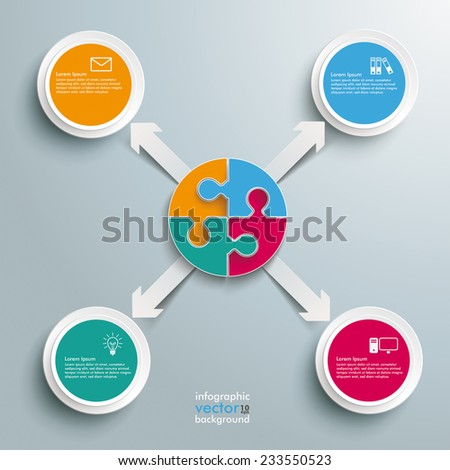 White paper arrows with circle puzzle on the grey background. Eps 10 vector file. - stock vector