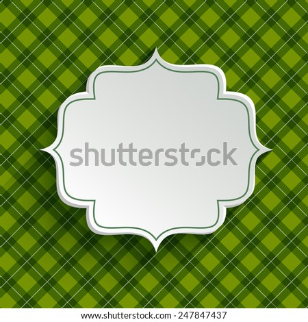 White paper banner in vintage or retro style over green pattern. St. Patrick`s day greeting card template - stock vector