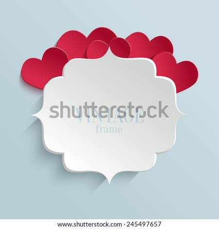 White paper banner in vintage or retro style with red hearts. Valentines day greeting card template - stock vector