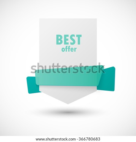 White paper banner with blue green ribbon for award design card vector illustration - stock vector