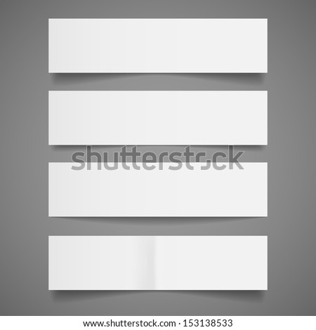 White Paper Banners - Set of blank white paper banners with shadows, isolated on gray background.  Vector illustration, Eps10. - stock vector