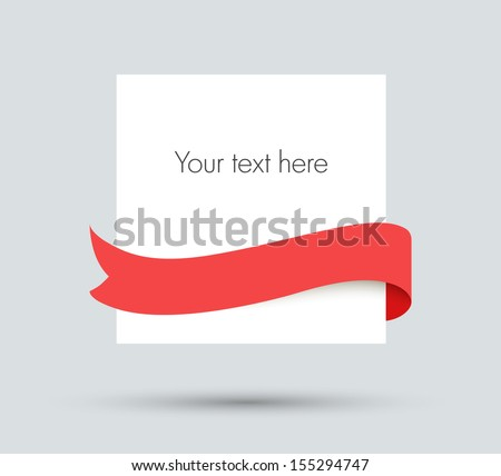 White paper blank with red ribbon - stock vector