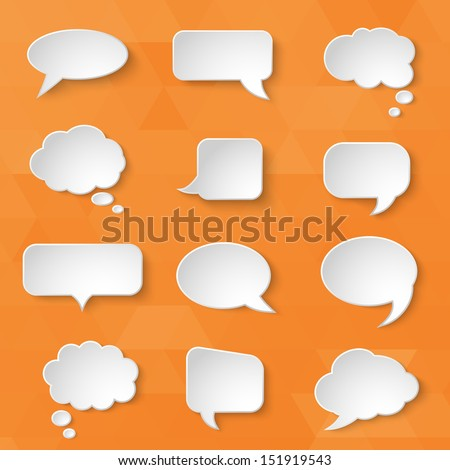White paper bubbles for speech on an orange background. Universal set 1. Abstract design. Vector illustration. - stock vector