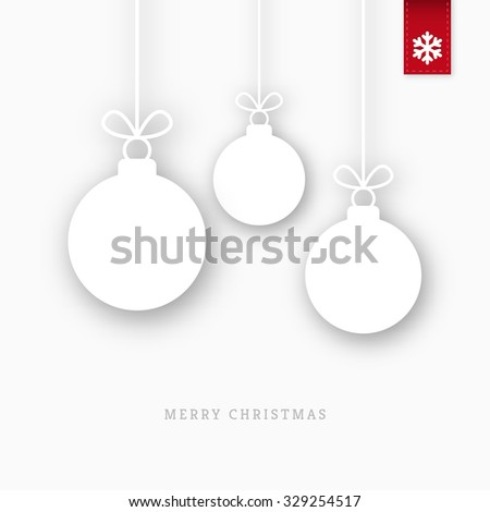 White paper christmas balls ornaments with shadow - stock vector