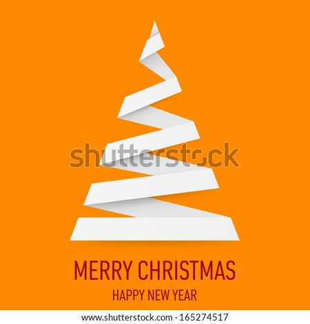 White paper Christmas tree in origami style on orange background. Greeting card. - stock vector