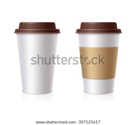White paper Cup with a brown cover with label and without label - stock vector