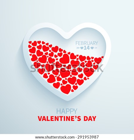 White paper heart filled with red hearts for Valentine's Day congratulations - stock vector