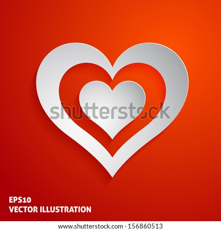 White paper heart icon on red background. Vector illustration - stock vector