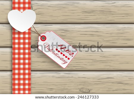 "White paper heart with price sticker on the wooden background. German text ""Valentinstag"", translate ""Valentine's day"" Eps 10 vector file. - stock vector"