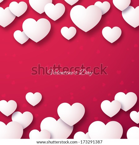 White paper hearts on a bright red background. Valentines day template. Vector illustration. - stock vector