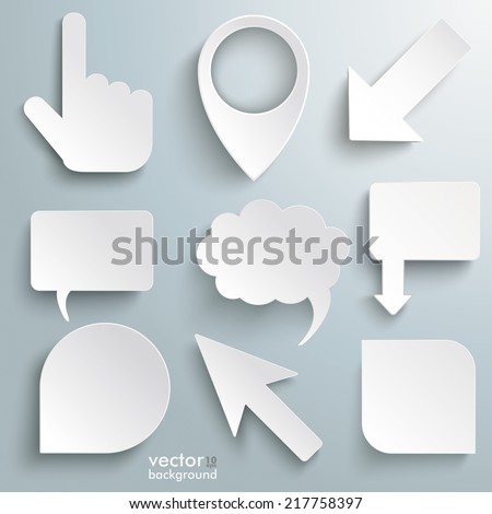 White paper markers on the grey background. Eps 10 vector file. - stock vector