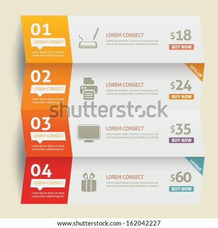 White paper numbered banners  - stock vector