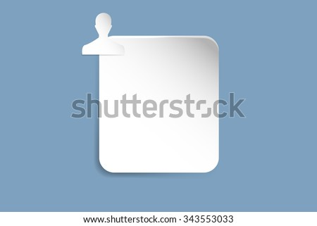 White paper rectangle with shadows on the trendy blue gradient background. Silhouette of a man is in the upper left corner of the rectangle. - stock vector