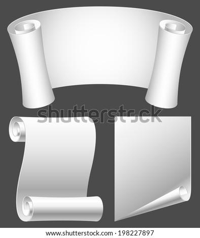 White paper scrolls.  - stock vector
