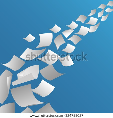 White paper sheets flying in the air. Fly page blank, paperwork and document, vector illustration - stock vector