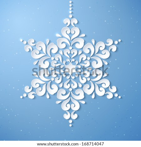 White paper snowflake on a blue background. Happy New Year. Abstract design. Vector illustration. - stock vector