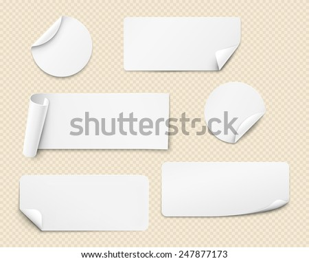 White paper stickers of various shapes with twisted angles. Vector illustration - stock vector