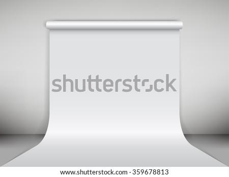 White paper studio backdrop. Vector illustration - stock vector
