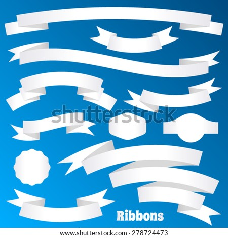 White paper vector retro ribbon banners and labels - stock vector