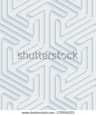 White paper with outline extrude effect. Abstract 3d seamless background. Halftone vector EPS10. See others in My Perforated Paper Sets. - stock vector