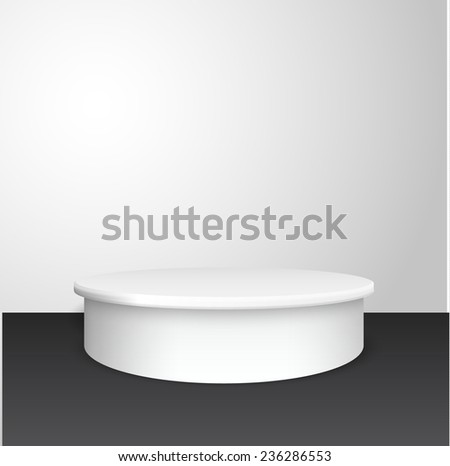 White pedestal vector background. Vector eps10. - stock vector