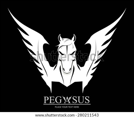 White Pegasus Horse Head. suitable for team identity, sport club logo or mascot, insignia, embellishment, emblem, illustration for apparel, mascot, equestrian club, motorcycle community, etc. - stock vector