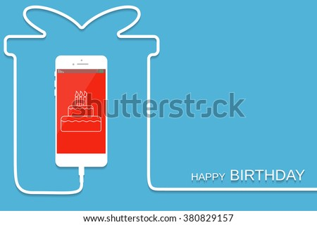 White Phone charging in style gift. Surprise Smartphone with line wire. Present Cellphone, cake screen. Minimalism, Outline earphone. Trendy simple Vector illustration banner, card, template design - stock vector