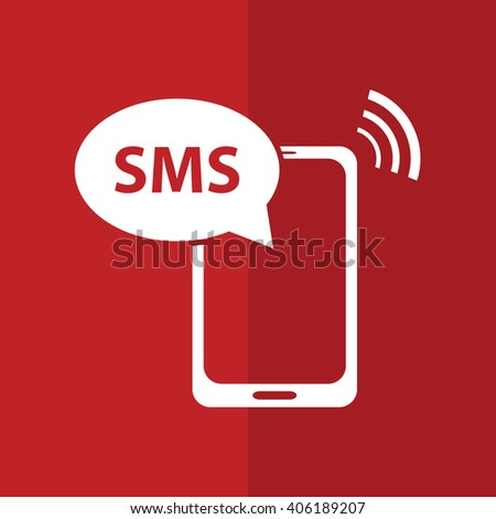 White phone SMS vector icon illustration. Red background - stock vector