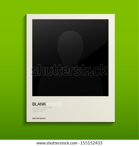 White photo frame and blank photo on green background - Vector illustration - stock vector