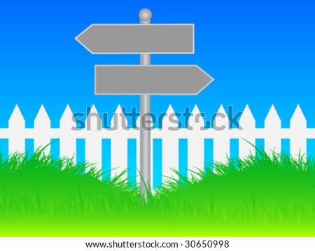 White picket fence and traffic signs - stock vector