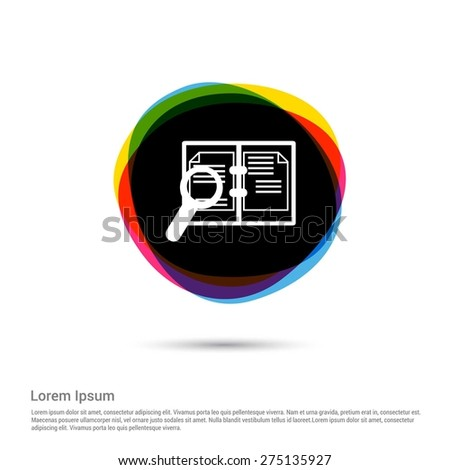 White pictogram icon creative circle Multicolor background. Vector illustration. Flat icon design style - stock vector