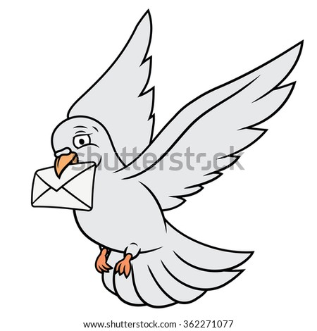 White pigeon is carrying letter - stock vector