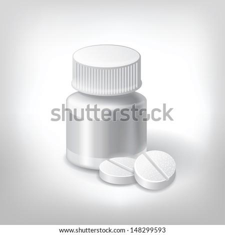 white pills and bottle pill. medical  - stock vector
