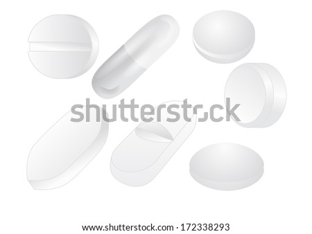 white pills isolated on a white background - stock vector