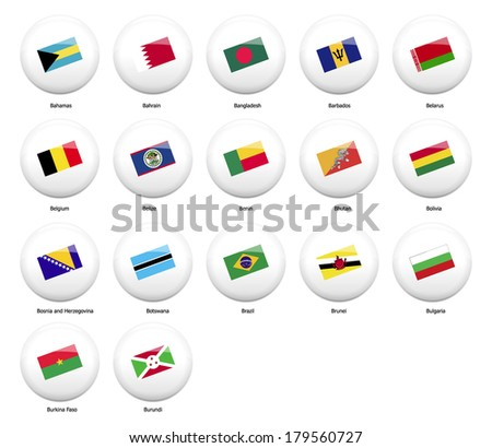white pin badges with flag of all countries started name by letter B - stock vector