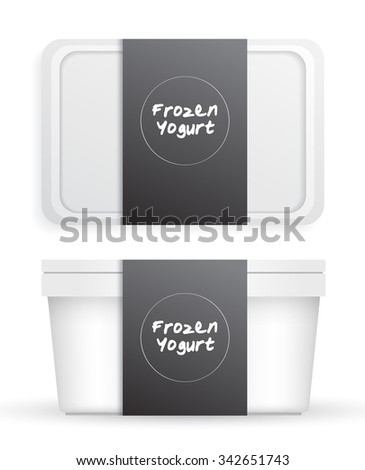White Plastic Bucket : Ice cream or Yogurt Container : Vector Illustration - stock vector