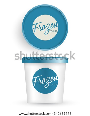 White Plastic Bucket With Blue Lid : Ice cream or Yogurt Container : Vector Illustration - stock vector